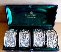 Cased Set Of 4 The Green Man Silver Napkin Rings By Elkington And Co Ld C 1897