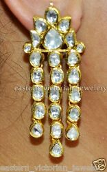 6.55cts Real Antique Cut Polki Diamond 24kts Gold Vintage Style Earring Jewelry