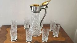 Elegant Vintage Russian Silver And Cut Crystal Wine Set .pitcher And 8 Glasses.