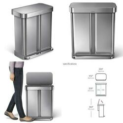 Dual Compartment Rectangular 58-Liter Step Trash Can in Brushed Stainless Steel