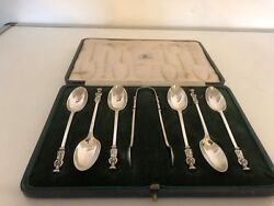 Cased Set Of 6 Solid Silver Apostle Spoons And Tongs 4.25 Long. Tongs 4 Long