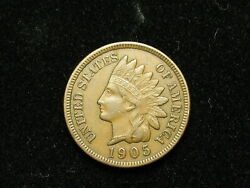Must Go Sale Au 1905 Indian Head Cent Penny W/ Full Liberty And Diamonds 114v