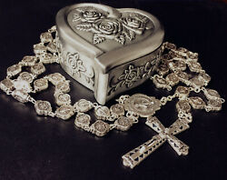 Italy Silver Catholic Mary Child Medal Rosary Beads Crucifix Cross Necklace Box