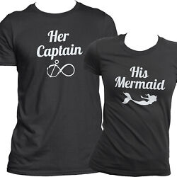 Cute Little Mermaid And Captain Matching Couples Shirts Loving Bf Gf Quality Tees