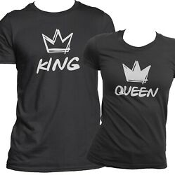 Cute King And Queen Matching Couples Shirts Loving Bf Gf Quality Tees Hip-hop