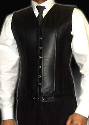Man Corset Black Real Leather Lace Up Front Busk Body Shaper Steel Bones S7xl