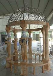 HAND CARVED MARBLE FIGURATIVE EUROPEAN DESIGN-STAINLESS STEEL TOP GAZEBO - ML48