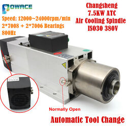 7.5kw 380v Atc Automatic Tool Change Spindle Air Cooling Spindle Iso30 24000rpm