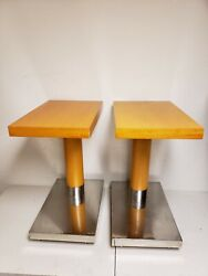Pair of Decca Contract Furniture Rolling Side Tables Mid Century Modern Designer
