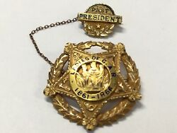 1948 Ladies Of G.a.r. 1861 - 1866 -2 Pins Chained To Eachother 10k Gold J952