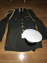 Vintage Army Jacket Dress Uniform And Dress Hat Sterling Bolo Pins
