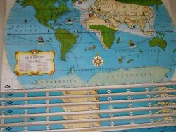 Vintage Tryon Illustrated Classroom Pull Down Map American History 9 Maps