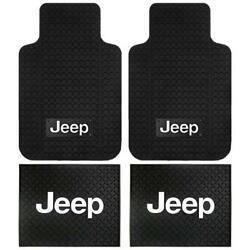 Jeep Logo 4pc Set Car Truck Suv Front And Rear Seat Rubber Floor