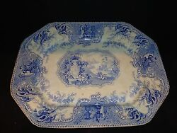 19th.c Staffordshire Mycenae Pattern Platter By Hulse Nixon And Adderly, Antique
