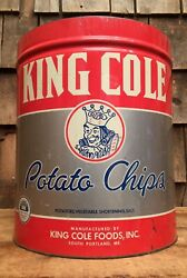 Large Vintage King Cole Potato Chips Portand Maine Tin Can Country Store Display