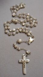Old Souvenir Rosary Jerusalem - Mother Of Pearl Shell Beads And Cross - 5 Decades