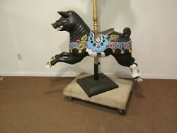 Vintage Carved Wooden Carousel Pig Glass Eyes Jointed Arms Legs Merry-go-round