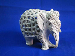 Marble Elephant Sculpture Wealth Animals Hand Carved Open Jali Homdecor Gift