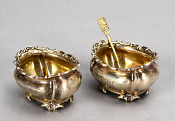 Pair Of Old Gorham Sterling Silver Master Salt Cellars And 2 Spoons No Liners