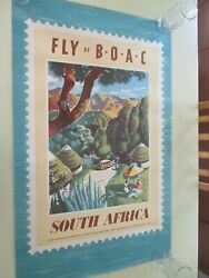 Vintage Boac Travel Poster Fly Boac To South Africa Original Rare 1952 Xenia
