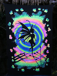 Fairy Black Light Fluorescent Tinker Bell Airbrushed Art Wall Hanging Tapestry 2