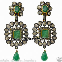 Victorian 5.38ct Rose Antique Cut Diamond Emerald Studded Silver Earring Jewelry