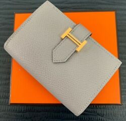 Hermes Bearn Mini Wallet Card Holder Bleu Glacier Gray Epsom. Sold Out In Store