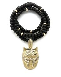 New Panther Mask Black Wooden Necklace 6mm 28quot; 14K Gold plated