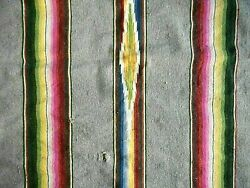 Vintage Blanket Woven 30's Southwest Gray Etc Serape Torn Stained 76 X 37
