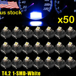 50* White T4/T4.2 Neo Wedge LED Bulb Cluster Instrument Dash Climate Base Lights