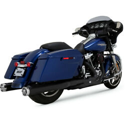 Vance And Hines Black 4 Monster Rounds Slip-on Mufflers 2017-19 Harley Touring