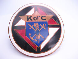 Antique Fraternal K Of C Knights Of Columbus Enamel Insignia Auto Grill Badge