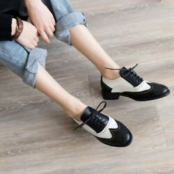 Wing-tip British Style Leather Lace Up Oxfords Flat Sneakers Sz Hot Sale New