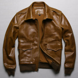 Men 100 Real Leather Jacket Military Air Force Coat Flight Casual Short Outdoor