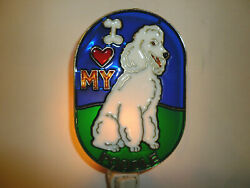 Stained Glass Style White Poodle  Night Light