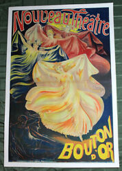 Nouveau Theatre Bouton Dand039or France 1893 58.5 X 37.5 Advertising Poster Lb