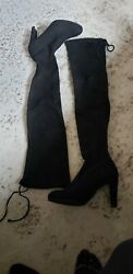 Stuart Weitzman Womens Over Knee Tall Boots Black Suede Size 8m