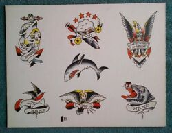 Classic Paul Rogers Authentic 1950-60-s Hand Painted Old School Tattoo Flash