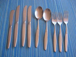 Mema Stainless Salad And Dinner Forks Soup Spoons Knives Butter Sweden 9 P