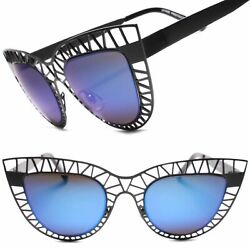 Classic Designer Sexy Womens Metal Frame Blue Mirrored Lens Cat Eye Sunglasses