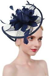 Navy Blue And White Fascinator Kentucky Hat Sinamay Feather Floral Derby Hat