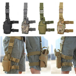 Right Adjustable Tactical PistolGun Drop Leg Thigh Holster With Mag Pouch US