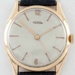 18k Rose Gold Menand039s Roamer Automatic Watch W/ Leather Band