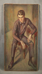 Vintage American Painting Handsome Young Sexy Boy Seating Elegant Fashion