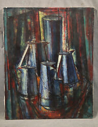 Vintage American Antique Cubist Expressionist Still Life With Tea And Coffee Pots