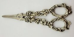 Antique French Sterling Grape Shears W/ Grapes And Flowers On Handle 155