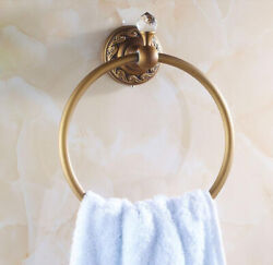 Bathroom Accessories Towel Ring Round Holder Wall Mounted Hanger Brass Antique