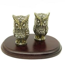 Tane Ofebres Mexico Sterling Silver Figural Owl Salt And Pepper Shakers 415.5g