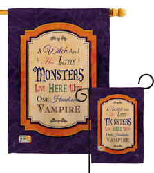 Wicked And Handsome Halloween Witch Monster Vampire Garden House Yard Flag