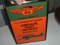 Vintage Phillips 66 Boeing 40 Airplane Pilot On Duty Porcelain Metal Wall Sign